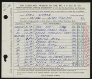 Entry card for Wyman, Carl for the 1955 May Show.