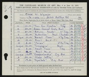 Entry card for Wyman, Claire for the 1955 May Show.