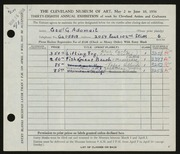 Entry card for Adomeit, George G. for the 1956 May Show.
