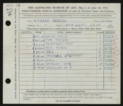 Entry card for Andres, Richard for the 1956 May Show.