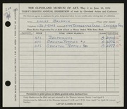 Entry card for Baldwin, Louise  for the 1956 May Show.