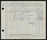 Entry card for Balkin, Max J. for the 1956 May Show.