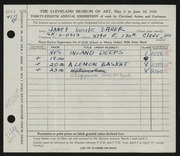 Entry card for Bauer, Janet Lucile for the 1956 May Show.