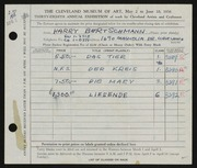 Entry card for Bertschmann, Harry for the 1956 May Show.