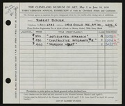 Entry card for Bidner, Robert for the 1956 May Show.