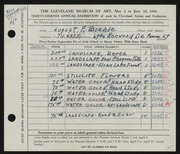 Entry card for Biehle, August F. for the 1956 May Show.