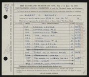 Entry card for Brisley, Robert Chapman for the 1956 May Show.