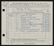 Entry card for Bujak, Walter F. for the 1956 May Show.