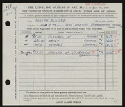 Entry card for Bulone, Joseph  for the 1956 May Show.