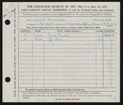 Entry card for Burroughs, Carol E. for the 1956 May Show.
