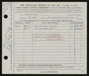 Entry card for Burstein, Gerson, and Friedson, Herbert Harold for the 1956 May Show.