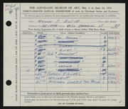 Entry card for Butor, Melvin F. for the 1956 May Show.