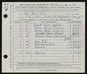 Entry card for Cass, Katherine Dorn for the 1956 May Show.