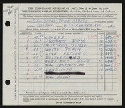 Entry card for Chamberlin, Price Albert for the 1956 May Show.