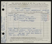 Entry card for Chapman, Anne for the 1956 May Show.
