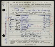 Entry card for Clague, John for the 1956 May Show.