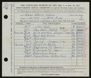 Entry card for Cohen, Elaine Albers for the 1956 May Show.