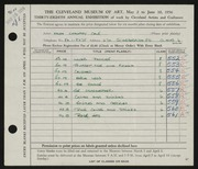 Entry card for Cole, Helen Champney for the 1956 May Show.