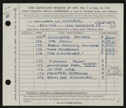 Entry card for Combes, Willard Wetmore for the 1956 May Show.