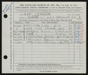 Entry card for Conner, Mae M. for the 1956 May Show.