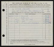 Entry card for Conover, Claude R. for the 1956 May Show.