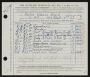 Entry card for David, Adeline Wilkens for the 1956 May Show.