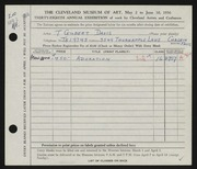 Entry card for Davis, Thelma Gilbert for the 1956 May Show.