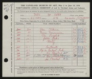 Entry card for De Grab, Doris for the 1956 May Show.