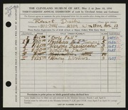 Entry card for Disch, Robert W. for the 1956 May Show.