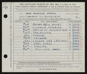 Entry card for Drahos, Dean Franklin for the 1956 May Show.