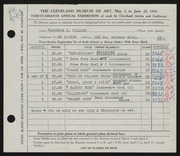 Entry card for Fillous, Florence Y. for the 1956 May Show.