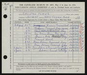 Entry card for Flaws, S. Allean for the 1956 May Show.