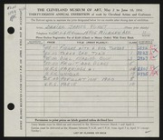 Entry card for Forst, Daniel James for the 1956 May Show.