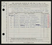 Entry card for Francis, Clyde Louis for the 1956 May Show.