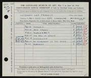 Entry card for Francis, Donna Lee for the 1956 May Show.