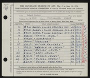 Entry card for Friedson, Herbert Harold for the 1956 May Show.