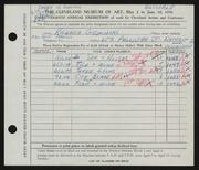 Entry card for Gosminski, Richard for the 1956 May Show.