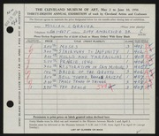 Entry card for Grauer, William C. for the 1956 May Show.