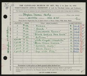 Entry card for Harty, Stephen Thomas for the 1956 May Show.