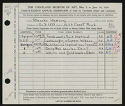 Entry card for Harvey, Blanche for the 1956 May Show.