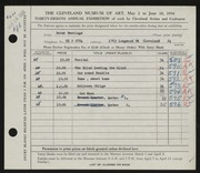 Entry card for Hastings, Peter Paul for the 1956 May Show.