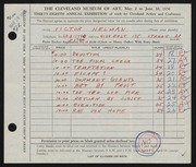 Entry card for Helman, Victor for the 1956 May Show.