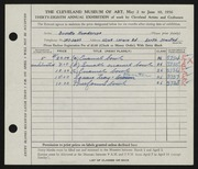 Entry card for Henderson, Buvetta F. for the 1956 May Show.