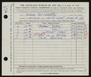 Entry card for Hlobeczy, Nicholas for the 1956 May Show.