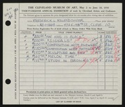 Entry card for Hollendonner, Frederick Lener for the 1956 May Show.