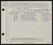 Entry card for House, James for the 1956 May Show.