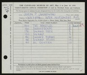 Entry card for Jankowski, Joseph Paul for the 1956 May Show.
