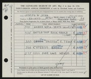 Entry card for Jicha, Joseph W. for the 1956 May Show.