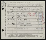 Entry card for Johnson, Jack E. for the 1956 May Show.