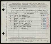 Entry card for Kennedy, Monica for the 1956 May Show.